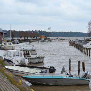 Båtar i Ingå hamn en ruskig dag sent i november.