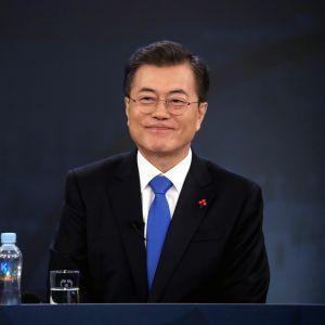 Sydkoreas president Moon Jae-In var nöjd efter de lyckade förhandlingarna med Nordkorea