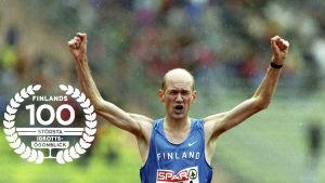 Janne Holmén vinner EM-guld 2002. Med Finlands 100 största idrottsögonblick-logo.