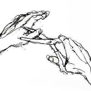 Teckning föreställande händer, den ena håller i en sax som klipper tummen av den andra handen.