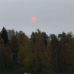En blodröd sol ovanför Helsingfors i morse.