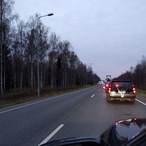 Bilkö efter krock på Förbindelsevägen i Vasa.