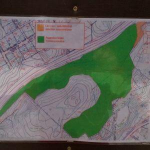 En karta vid en informationsskylt om parkskogsvård. Grönt stort område som ska avverkas. Litet gult område lämnas i naturtillstånd.