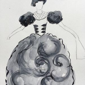 En svartvit skiss av en operadräkt.