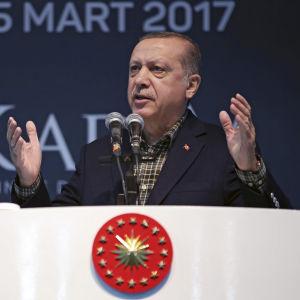 Turkiets president Recep Tayyip Erdogan talar på en valtillställning i Istanbul 5 mars 2017.