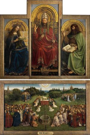 Jan van Eychin 1432 viimeistelemä Gentin alttaritaulu Karitsan palvonta.
