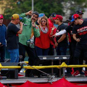 Nicolas Maduro håller sitt sista valmöte i Caracas före presidentvalet 2018.