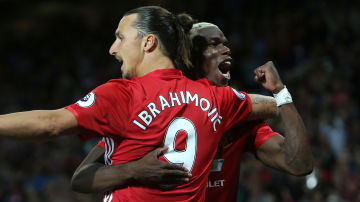 Zlatan Ibrahimovic och Paul Pogba firar mål.