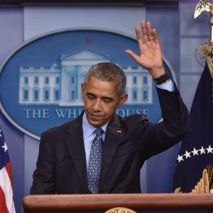 USA:s president Barack Obama höll sin sista presskonferens i Vita huset den 18 januari 2017.