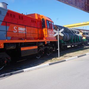 Godståg med flera vagnar lastade med stora rör.