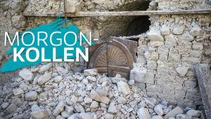 Rasad vägg i Amatrice efter jordbävningen