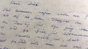 Bild av brev från Infrid till Dick.