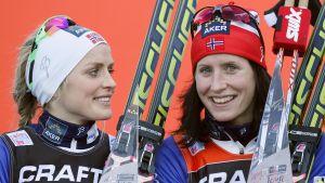 Therese Johaug och Marit Björgen.