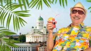 Toimittaja Timo-Erkki Heino lavastetussa kuvassa