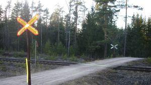 En oövervakad järnvägsövergång.