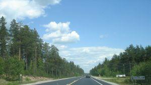 Bilar på en landsväg.