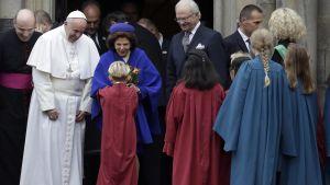 Påven och kungaparet i Lund.