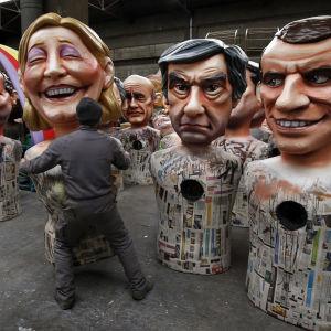 Marine Le Pen och François Fillon som karnevalfigurer, inför karnevalen i Nice.