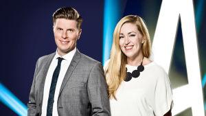 Markus Liimatainen ja Annika Damström juontavat A-teeman torstaina 27.4. klo 21.05.