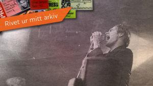 Tidningsurklipp med bild av Kents vokalist Joakim Berg från 1996.
