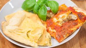 Vit pizza och pizza med mozzarella och kronärtskocka