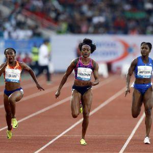 Elaine Thompson vann damernas 100 meter i Rabat.