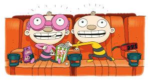 Tatu ja Patu elokuvateatterissa. Kuvitusta.