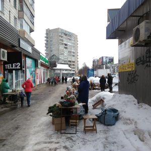 Gatuförsäljare i Arkangelsk.