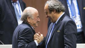 Sepp Blatter och Michel Platini, maj 2015.