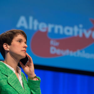 AFD:s partiledare Frauke Petry under partikongressen i Stuttgart 30.5.2016