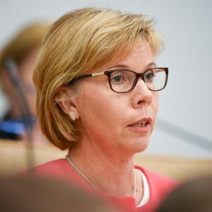 SFP:s ordförande Anna-Maja Henriksson i riksdagen sommaren 2016.
