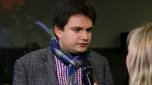 Roman Lopatynskyi haastattelussa välierän jälkeen.