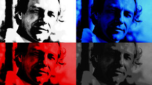 Warhol-inspirerat kollage i flera färger av porträtt av Yrjö von Grönhagen.