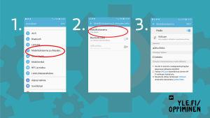 Kuvassa näytetään miten Android-puhelimesta jaetaan mobiiliverkko
