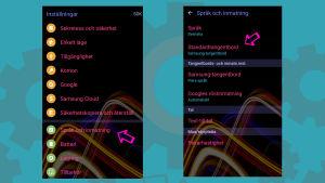 Skärmdumpar från en Android-telefon.