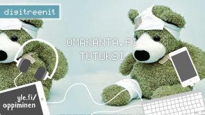 Kaksi laastaroitua nallea Omakanta.fi -palvelua esittelevän Digitreenien pääkuvassa