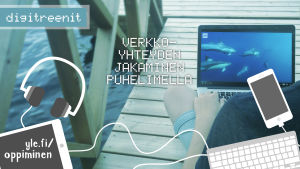 Digitreenien pääkuva, teksti: Verkkoyhteyden jakaminen puhelimella. Taustakuvassa tietokoneen käyttöä laiturilla.