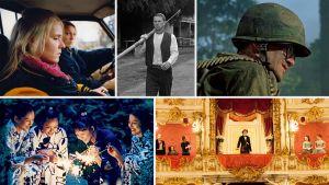 Kollaasi Teeman elokuvista keväällä 2018: Neitoperho, Terroria Texasissa, Hamburger Hill, Ludvig II, Siskokset