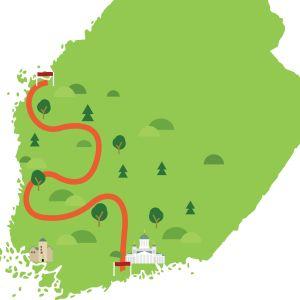 Karta över Svenskfinland är Stafetten 100 löpes.