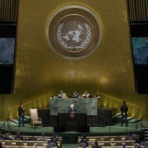 Irans president Hassan Rouhani höll tal på FN:s generalförsamling under onsdagen.