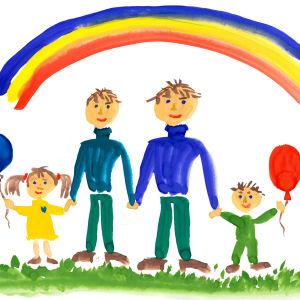 En teckning föreställande två pappor med barn.