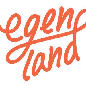 Egenland-ohjelman logo oranssilla valkoisella taustalla.