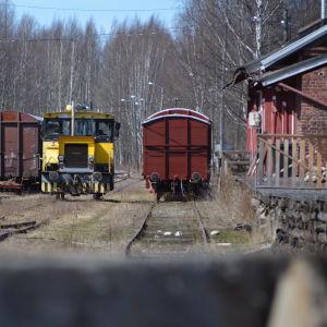Gamla godsvagnar på järnvägsstationen i Borgå