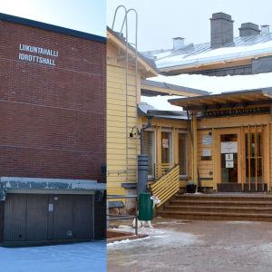 Lovisa idrottshall och Lovisa bibliotek.