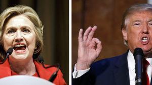 Demokraternas Hillary Clinton klädd i rött och Republikanernas Donald Trump klädd i mötkblått.