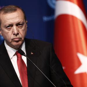 Recep Tayyip Erdoğan under en presskonferens den 24 maj 2016.