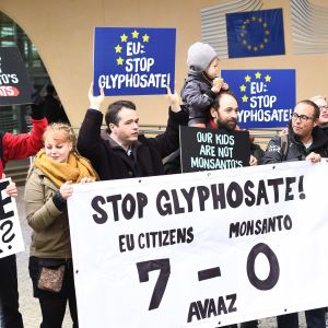 Demonstration mot glyfosat i Bryssel.