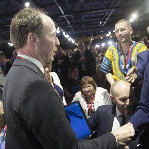 Jussi Halla-aho vid partimötet som valde honom till ordförande.