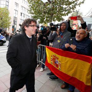Den avsatta katalanska regionpresidenten Carles Puigdemont i Bryssel.