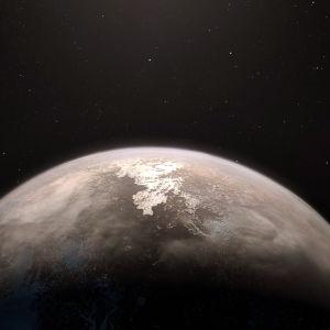 En konstnärs tolkning av exoplaneten Ross 128 b.